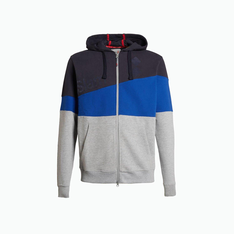 Sweatshirt B53 - Navy Blau / Marineblau / Grau, Meliert