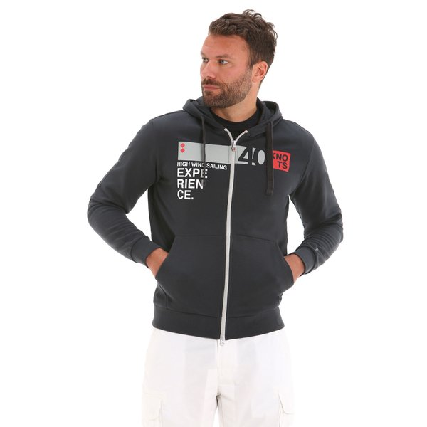 Men's sweatshirt E57 in cotton with zip and hood