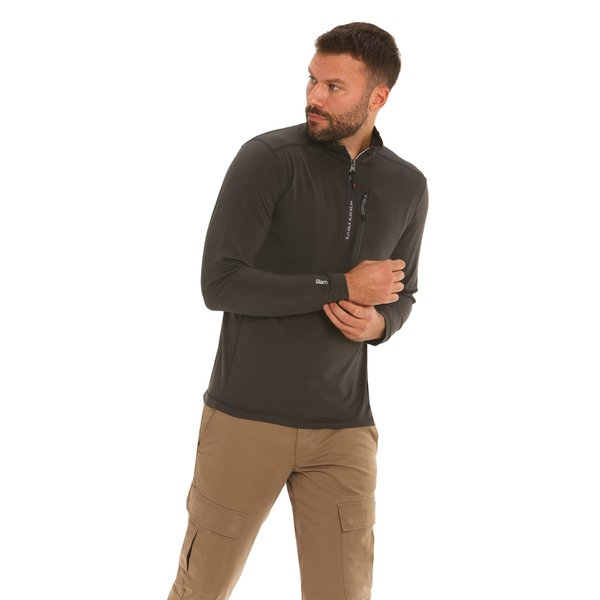 F46 men's micro-fleece jumper with side pocket