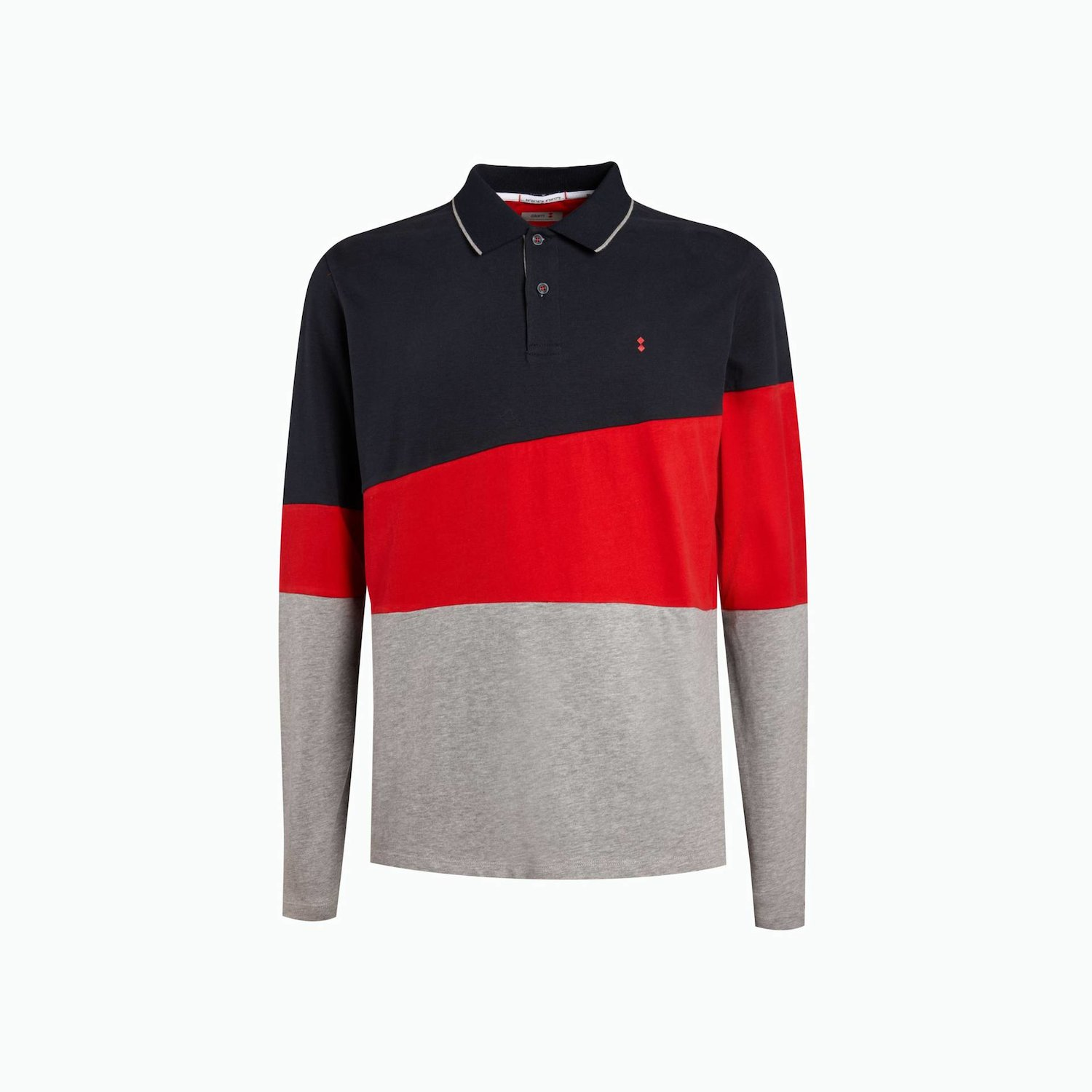 Polo B42 - Navy Blau / Slam Red / Grau, Meliert