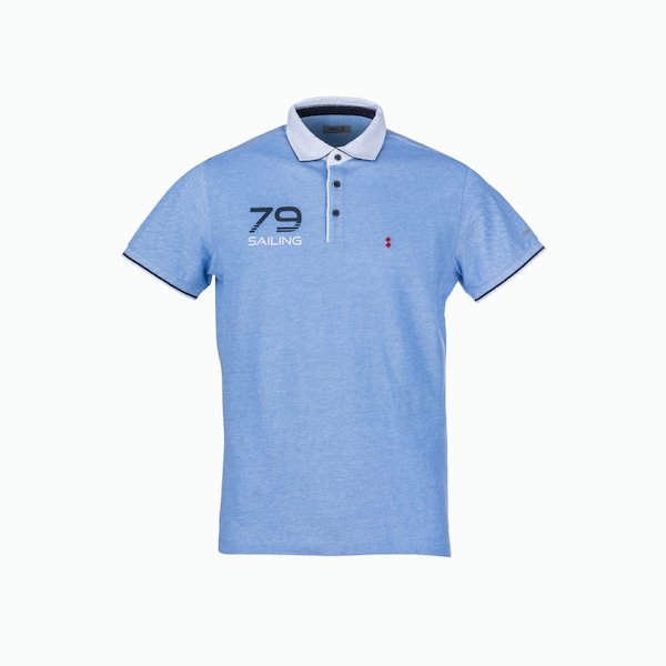 C113 men's polo shirt in cotton with two-tone collar