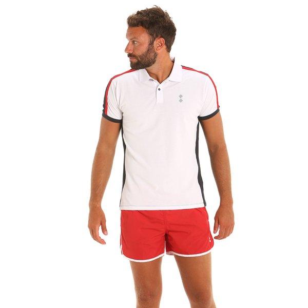 Dreifarbiges, kurzärmliges Herren-Poloshirt E81