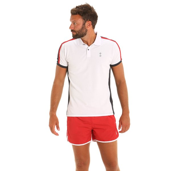 E81 men's three-colour short-sleeved polo shirt