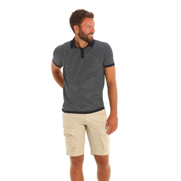 Men's polo shirt E86 in Cotton with striped pattern