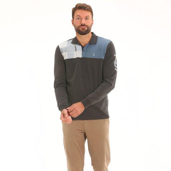 Men's long-sleeve polo shirt F109 in cotton
