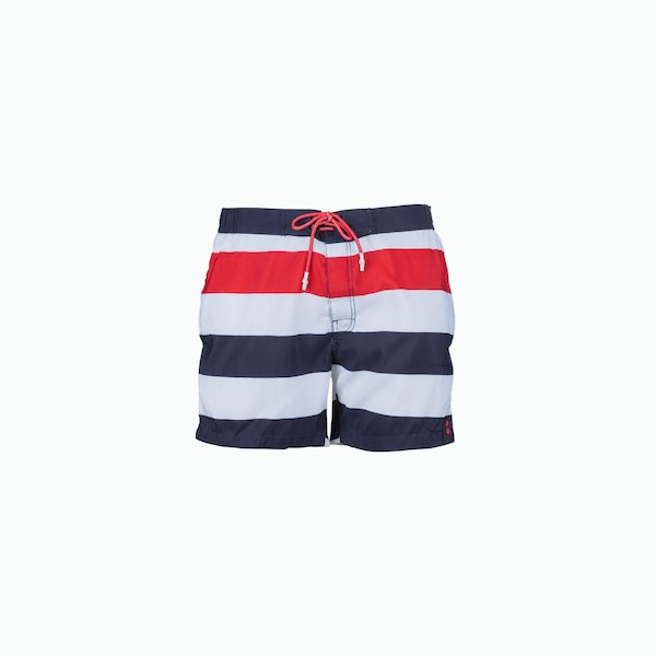 Men's swimsuit C31 with three colored lines motif