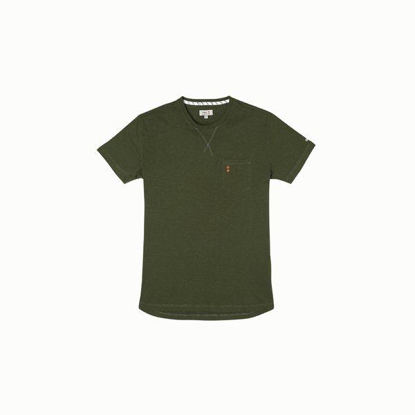 Camiseta para hombre A105 de manga corta y cuello caja en algodón
