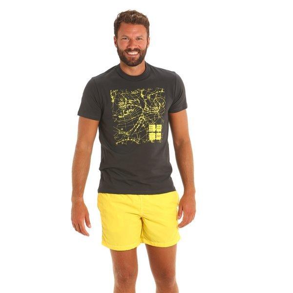 Camiseta para hombre E110 de manga corta y cuello caja en algodón