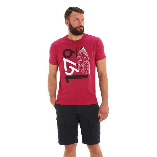 Camiseta para hombre E116 de manga corta y cuello caja en algodón