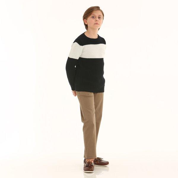 Pantalón niño D399 en sarga de algodón elastizada