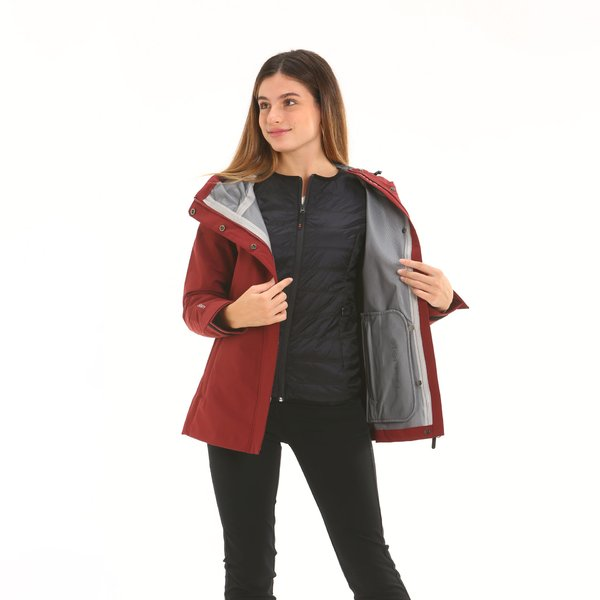 Women jacket F212 with hood and detachable internal quilting