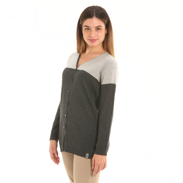 Cardigan donna F255 in misto cashmere con bottoni