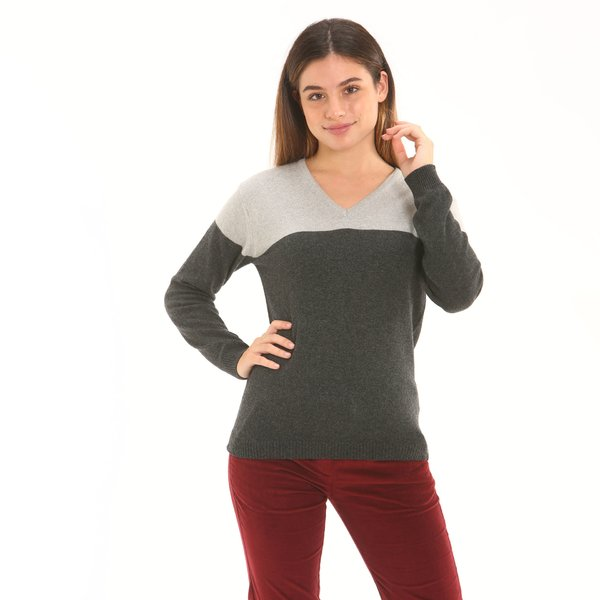 Women jumper F256 in cashmere blend with v-neck