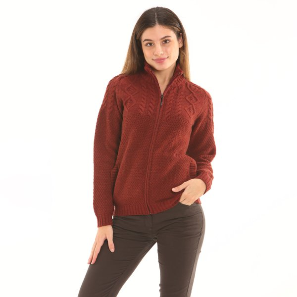 Solid-colour women's zip cardigan F257 in soft lambswool
