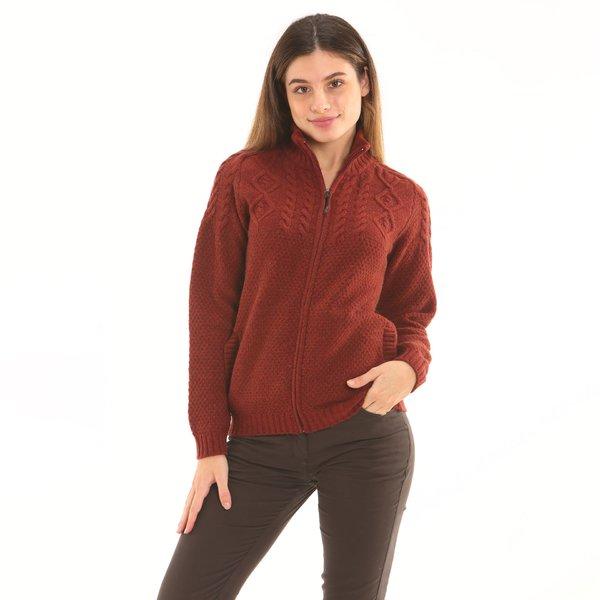 Cárdigan mujer F257 con cremallera en suave lana de cordero