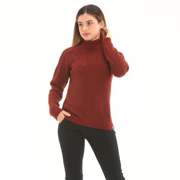 Jersey mujer F258 de cuello cisne en suave lana de cordero