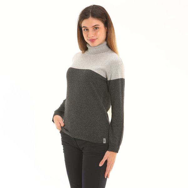 Women jumper F260 in cashmere blend with polo-neck