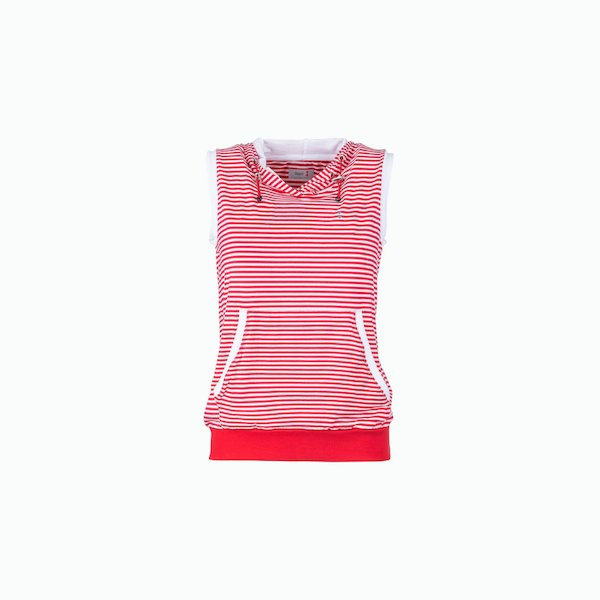 Women's sweatshirt C187 sleeveless striped with zip