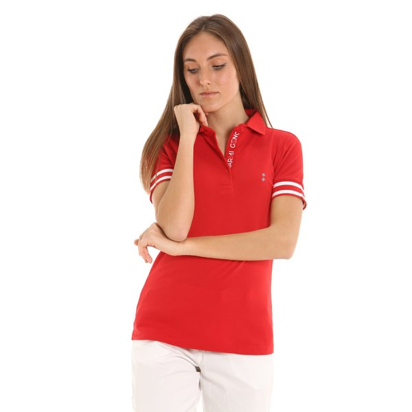 E255 women's polo shirt printed with the names of Italian cities