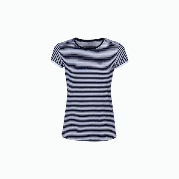 C189 Camiseta mujer de cuello caja a rayas
