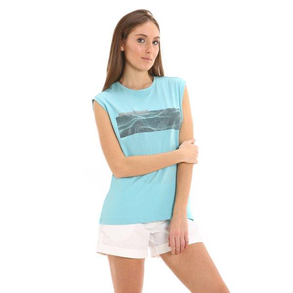 T-shirt donna G253 smanicata con stampe a tema velistico