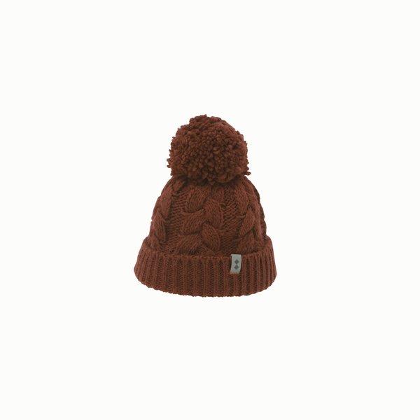 Damen Mütze F451 aus Mischwolle mit Pompon