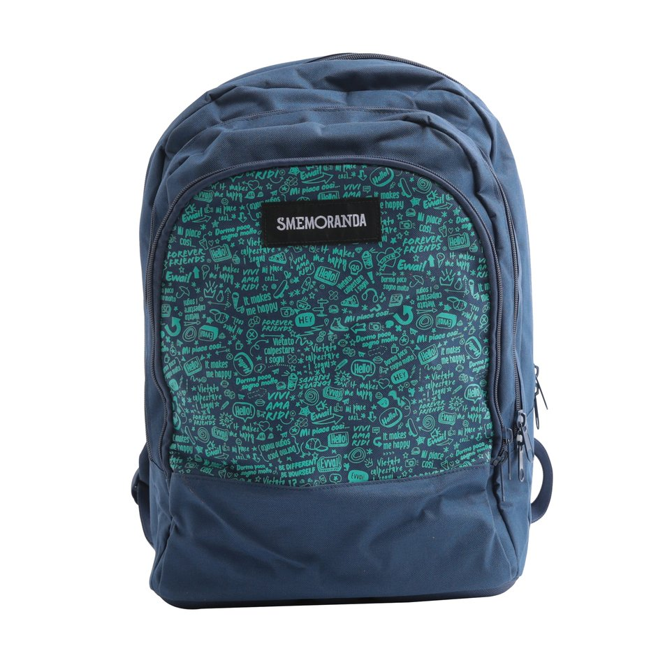 Zaino tre comparti blu scuro con schienale imbottito e tasca porta pc/tablet