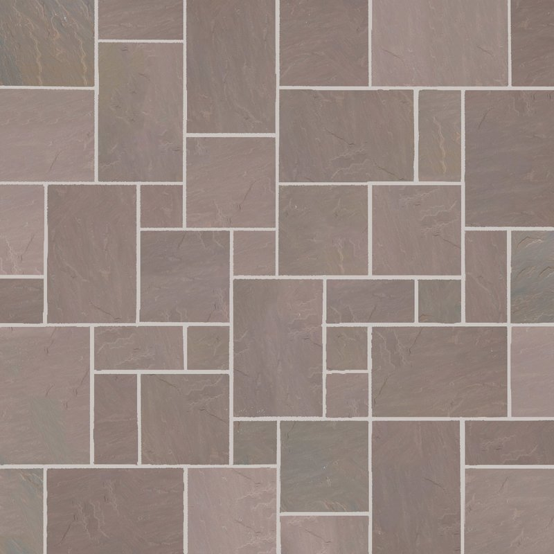 Autumn Brown Hand Cut Natural Sandstone Paving (Mixed Size Packs) - Autumn Brown