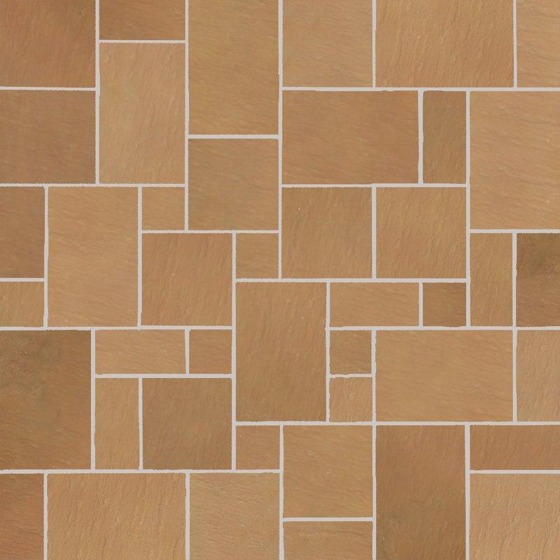 Modak Tumbled Natural Sandstone Paving (Mixed Size Packs) - Modak