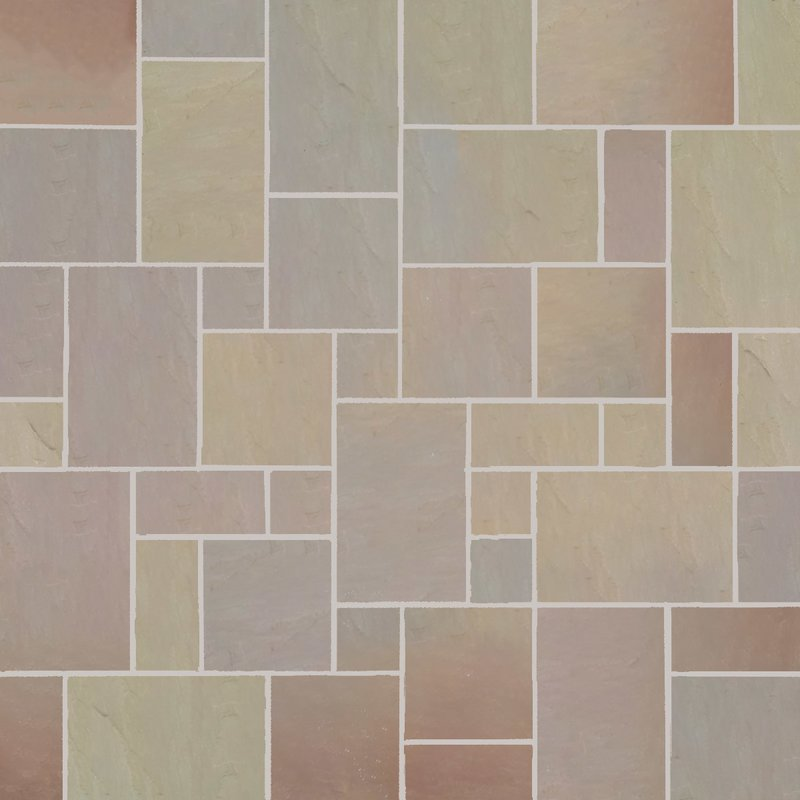 Autumn Gold Tumbled Natural Sandstone Paving (Mixed Size Packs) - Autumn Gold