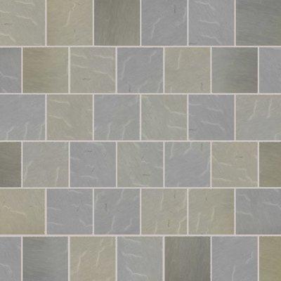 Raj Blend Tumbled Natural Sandstone Paving (600x600 Packs)