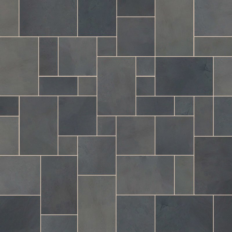 Brazilian Black Sawn Natural Slate Paving (Mixed Size Packs) - Brazilian Black