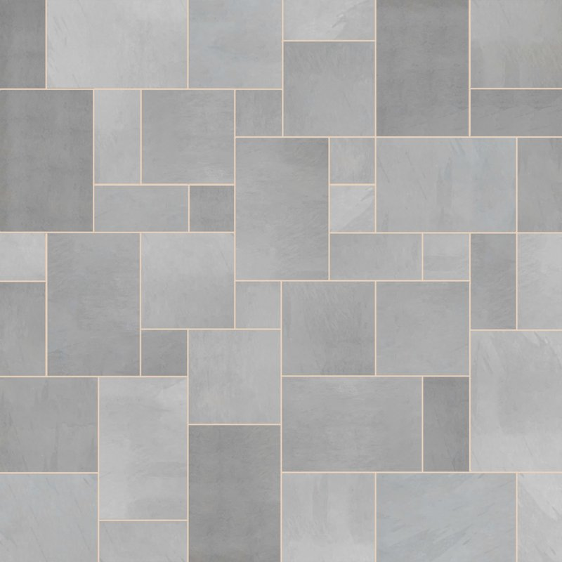 Brazilian Grey Sawn Natural Slate Paving (Mixed Size Packs) - Brazilian Grey