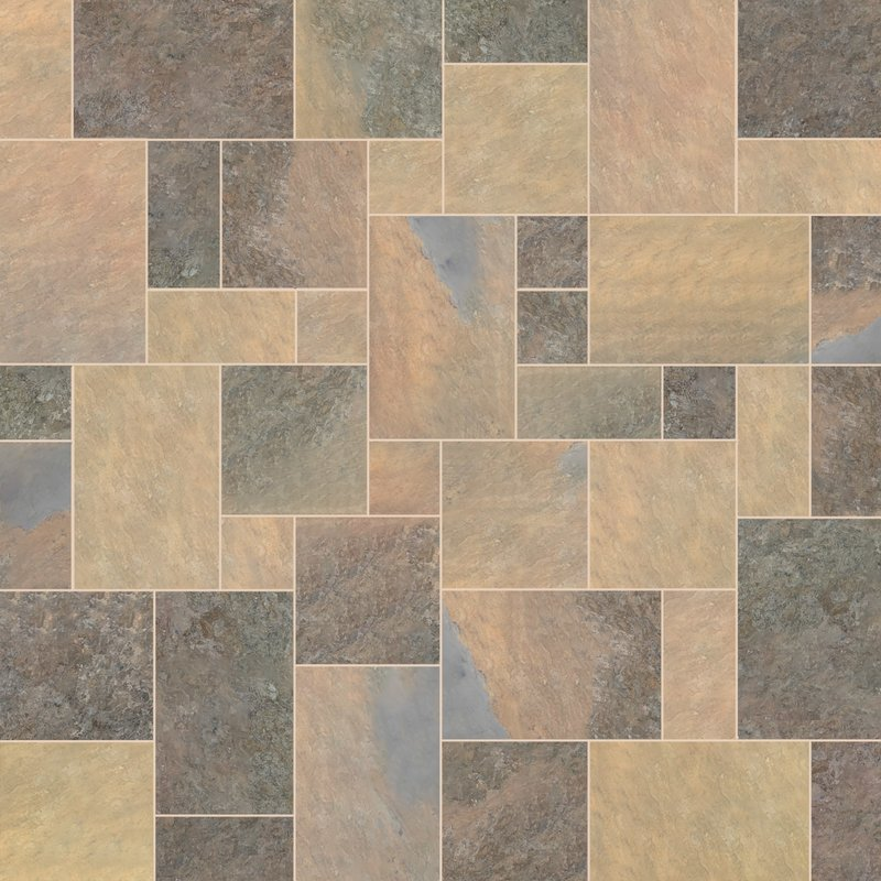 Indian Rusty Sawn Natural Slate Paving (Mixed Size Packs) - Indian Rusty