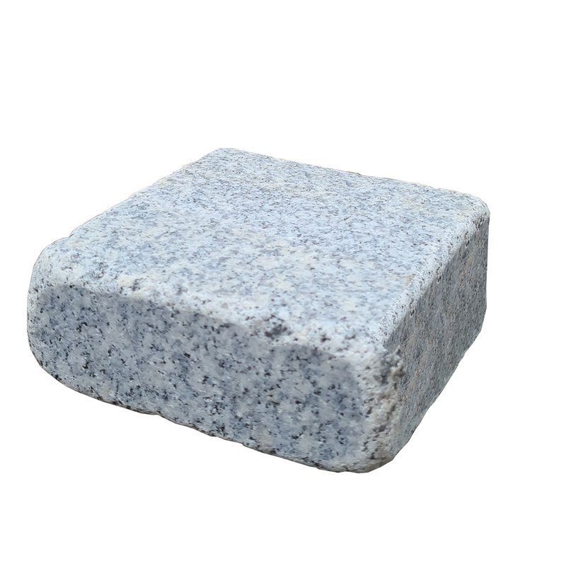 Light Grey Sawn, Honed & Tumbled Natural Granite Block Paving (140x140 Size) - Light Grey