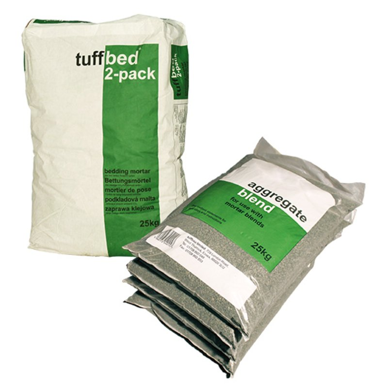 Steintec Tuffbed Bedding Mortar - 25KG Twin Pack - Grey