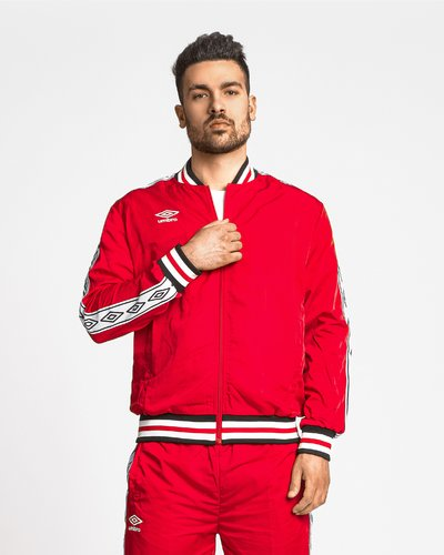 Track jacket with logo print band - Red