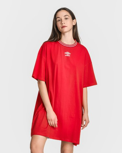 Dress with logo print band - Red