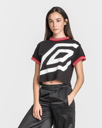 Cropped t-shirt with print - Black