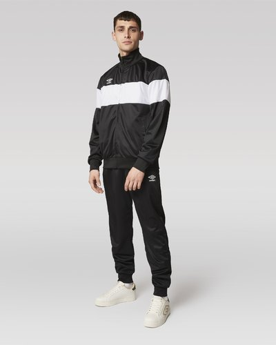 Polyester full zip suit with contrasting stripe