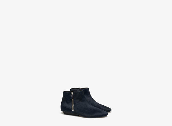 Ponyskin ankle boots with maxi side zip