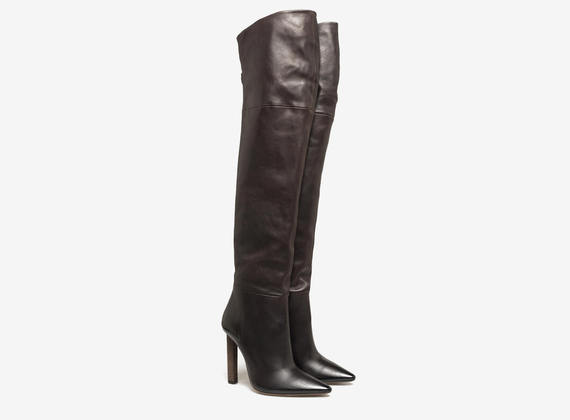 Thigh high boot with back zip