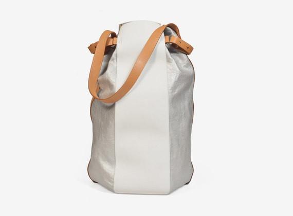 Mehrfarbige Handtasche aus Leder und kaschiertem Nappaleder