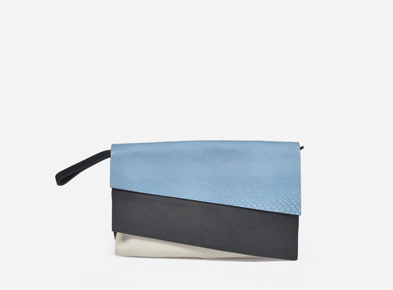 Compact clutch bag crafted from leather and python leather