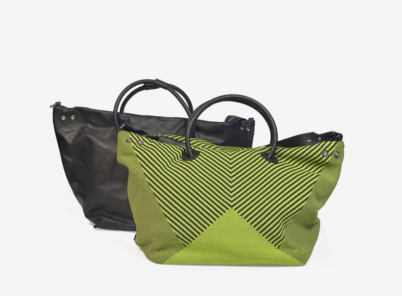 Loom knitted fabric and leather double face handbag