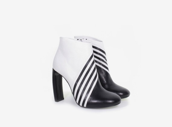 Optical low ankle boot with internal zip