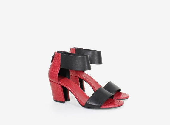 Cowhide and python leather sandal