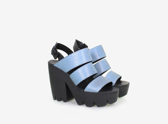 Python leather sandal with strap and maxi rubber lug sole