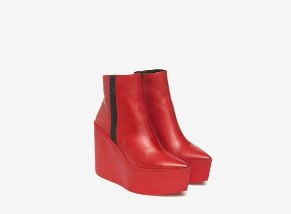 Red chunky wedge ankle boots