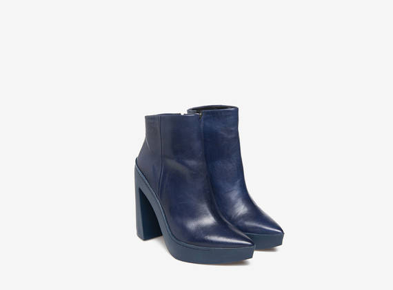 Blue on blue rubber ankle boots